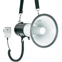 Megafoon met handmicrofoon, draagriem en sirene